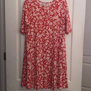 Old Navy Coral floral jersey swing dress Med EUC